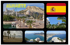 ALICANTE, SPAIN - SOUVENIR NOVELTY FRIDGE MAGNET - FLAGS / SIGHTS - NEW - GIFT