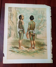 Late 1800's Original Color Print of Persons with Full Body Tatoos
