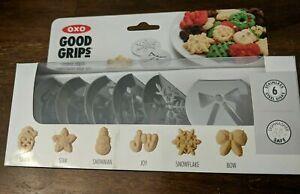 OXO Good Grips Cookie Press Christmas 6 Disk Set Santa Snowman Joy Snowflake