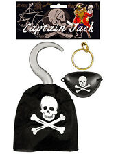 Captain Jack Pirate Hook & Eyepatch Fancy Dress Costume Prop Pirate Accessory