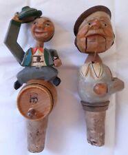 Hand Carved Cork Mechanical Bottle Stoppers Lift Hat, Waiter