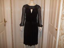 DI ALBERTA FERRETTI PHILOSOPHY Black Crepe Long Sleeve Designer Dress UK 14