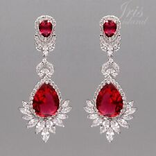 White Gold Plated Ruby Red Cubic Zirconia CZ Wedding Drop Dangle Earrings 07204