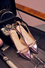 Womens Flats Strappy Buckle Patent Gold Sliver Pointed Toe Slingback Shoes