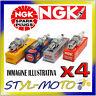 KIT 4 CANDELE NGK LZKAR7A RENAULT Clio 2 16V 1.2 55kW D4F 712/714 2000