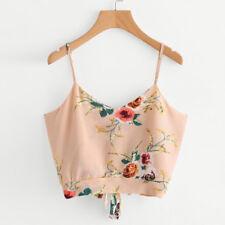 Women's Fashion V Neck Floral Tank Tops Vest Crop Cami Shirts Camisole Blouse