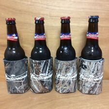 Budwieser Bowtie Real Tree Mossy Oak Camo Beer Koozies - Set Of 4 - BRAND NEW