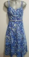 Lilly Pulitzer Blue Floral Fit & Flair 100% Cotton Lined Dress  Size 4      #900