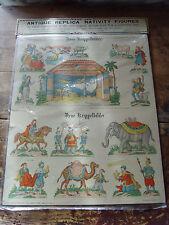 NOS Antique Replica Neve Krippelbider paper figures vintage Christmas decoration