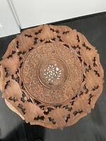 Vintage Hand Carved Small Wooden Table/ Plant Stand Floral Inlaid
