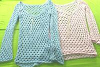 2 ausgefallene Grobstrick Pullover * Apart *hellblau & rosa *Gr. 38 * Lochmuster