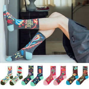 Fashion Women Funny Flowers Printed Socks Mid Tube Cotton Sock Casual Streetwear