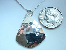 Hammered Triangular Curl Necklace 925 Sterling Silver Corona Sun Jewelry