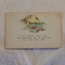 Vintage Postcard With Sincere Wishes That Your Christmas May Be Merry, Flowers