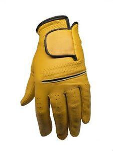 (Mens  Gold / Yelow Cabretta Golf Glove (Right  & Left Hand)