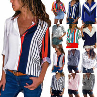 Fashion Womens Long Sleeve Stripe Blouse Ladies OL Work Button Down T Shirt Tops