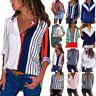 Fashion Women Long Sleeve Stripe Blouses Ladies OL Work Button Down T Shirt Top