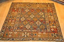 19th Century 4'x5' Antique Caucasian Shirvan  colorful gold, blue, beige rust