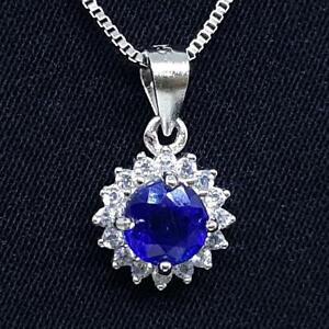 World Class .65ctw Blue Sapphire & Diamond Cut White Sapphire 925 Silver Pendant