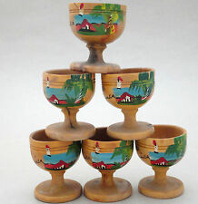 Egg Cup Holder x 6 Wood Jamaica Hand Painted Estate Ranch Scene Palms Natural