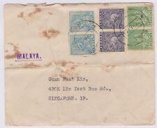 (RF29)1950 India toMalaya Envelope from Rev FR Aurelivs