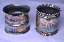 TWO ANTIQUE VICTORIAN QUADRUPLE SILVER PLATE TALL NAPKIN RINGS