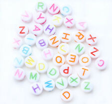 230 Random Mixed Colors Flat Round Alphabet/Letter Acrylic Spacer Beads 7mm C054