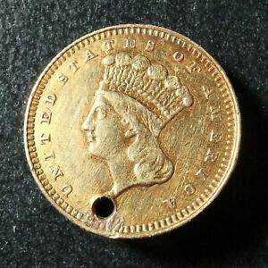 One Dollar 1862 United States of America Gold mounted $1 1$ USA Indian Princess