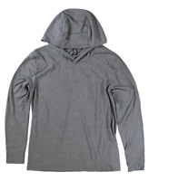 Men's District Made Tri Blend L/S Hooded Tee Shirt Gray Frost 2XL