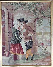 Edad-Gobelin para 1900-Antik Antique-genre escena con personas y niños