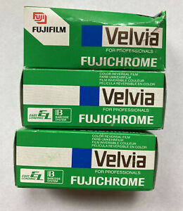 Fujichrome VELVIA RVP120 Reversal Film NEW LOT of 3 (2000 Date)**FREE SHIP**
