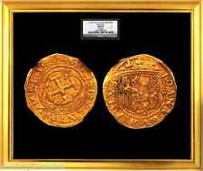 SPAIN 1535 GOLD COIN 1 ESCUDO DOUBLOON ~ NGC 55 SEVILLE MINT JERUSALEM CROSS