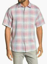 TOMMY BAHAMA Glazed Razzberry LINEN Blend Pink Red Plaid Medium Shirt NWT $115