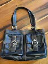 COACH Soho Black Leather Double Pocket Handbag Tote Purse Vintage b9