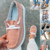 Womens Lace Up Canvas Flat Trainers Ladies Casual Loafers Plimsolls Pumps Shoes