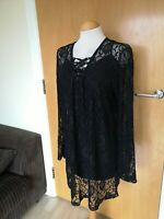 Ladies Dress Size L 12 14 Black Lace Mini Party Evening Smart