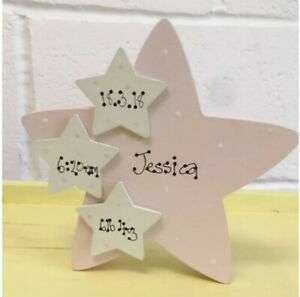 Personalised Freestanding New Baby Girl Daughter Wood Star Name Plaque Gift 18mm