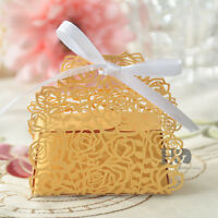 Gold Rose Laser Cut Cake Candy Gift Boxes with Ribbon Wedding Favor Baby Boxes