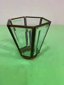 Vintage Brass & Bevel Edge Glass Light Shade For Chandelier or Wall Scone