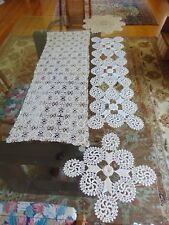 Lot of 4 Vintage Crocheted Pieces Two Runners & 2 Round Doilys White & Beige