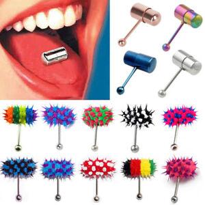 Women Men Vibrating Steel Silicone Tongue Ring Bar Stud Piercing + 2 Batteries