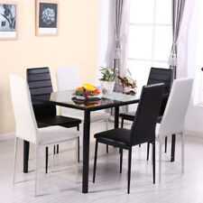 Modern Dining Set Rectangle Table 4/6 Chairs Tempered Glass Kitchen Dinner Unit