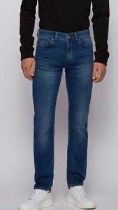 Hugo Boss Men's Tapered Slim Fit Jeans in Deep-Blue Super Stretch Knitted Denim