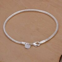 Fashion 925Sterling Solid Silver Jewelry 3MM Snake Chain Bracelet For Women H187