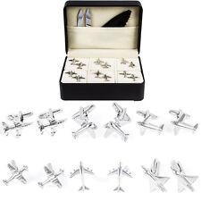 Plane Airplane Pilot Jets Flight Attendant 6 Pairs of Cufflinks Fancy Gift Box