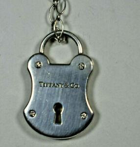 Tiffany &Co 4 DIAMOND Padlock Arc Lock Pendant Fancy Marquise Link Necklace RARE