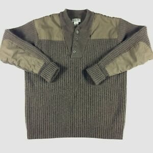 LL Bean Sweater Mens Size XL Brown Merino Lambs' Wool Elbow Patches EUC