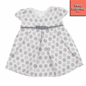 TAF FIRENZE Fit & Flare Dress Size 9M Fully Lined Polka Dot Pleated Velour Bow