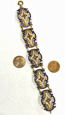 Gold Gilt on Copper/ Base Metal? Filigree Multi-Color Enamel Vintage Bracelet