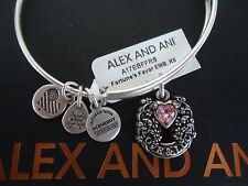 Alex and Ani FORTUNE'S FAVOR Russian Silver Charm Bangle New W/ Tag Card & Box